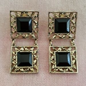 Vintage Square Dangle Earrings/ Gold Black